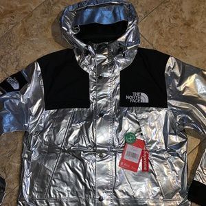 Supreme x North Face Mountain Parka Silver Metal